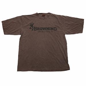 Vintage Mens T Shirt 2XL Brown Browning Firearms Single Stitch Deer