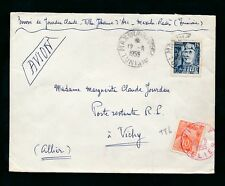FRANCE POSTAGE DUE 1955 TUNISIA 15F + VICHY CANCEL in RED on ORANGE 10F