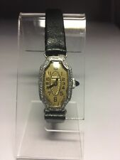 Vintage Ladies Bulova Watch Art Deco Silver Tone Swiss Mechanical Black Leather