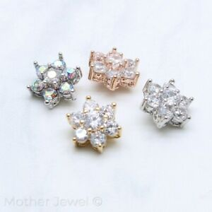 SIMULATED DIAMOND 8MM FLOWER SILVER 14K YELLOW ROSE GOLD IP DERMAL ANCHOR TOP