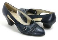 Elegante Vintage Zapatos de Tacón Mujer Azul Cuero Patrón Entrelac Tiras Chimène