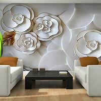 Vlies Fototapete 3D Effekt Kunst Blumen Ausbilck Optik Wohnzimmer Tapete 88