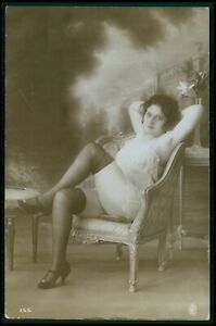 French risque woman Legs and Armpits original vintage old 1920s photo postcard