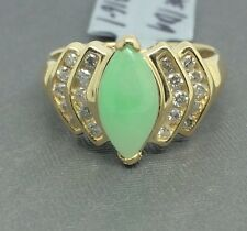 14K Solid Yellow Gold Natural Diamond and Marquise Shape Jade Ring