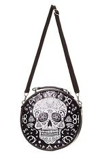 BANNED BLACK OCCULT PENTAGRAM SKULL SIDE BAG DARK ARTS WITCHCRAFT GOTH NEW
