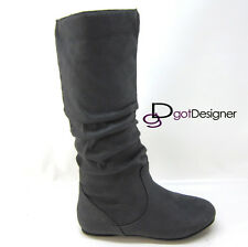 Women Boots Cute Slouch Comfort Casual Flat Mid Calf Knee High Round Toe NEW HOT