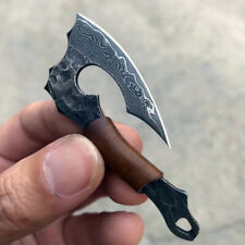 HANDCRAFTED VG10 DAMASCUS AXE MINI KNIFE CAMPING SURVIVAL GEAR W/ SHEATH CHAIN