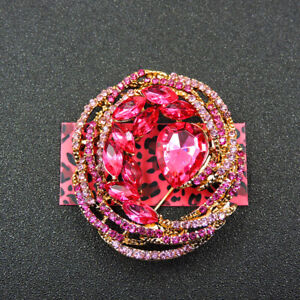 Rose Pink Crystal Rhinestone Flower Wreath Betsey Johnson Brooch Pin Gift