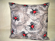 Handmade Red Hearts Pillow Cover Flannel Black White Gray Floral Swirls Cottage
