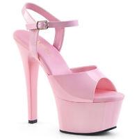 Pleaser ASPIRE-609 Women's Baby Pink Patent Platform Heel Ankle Strap Sandals