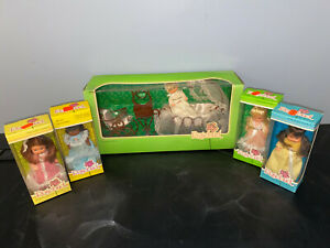 Vintage 1977 Mattel ROSEBUD Doll Lot NRFB NEW IN BOX 5 dolls and one playset