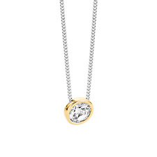 Genuine Ti Sento Sterling Silver/Gold  CZ Set pendant on chain 3807ZY £99