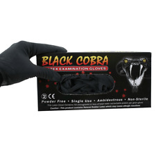 Black Cobra Latex Gloves - x 100 - Tattoo Gloves - Powder Free - Various Sizes