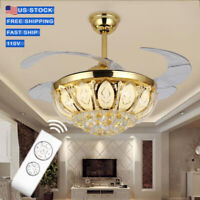 "42"" New Crystal LED Chandelier Remote Control Gold  Invisible Ceiling Fan Lamp."
