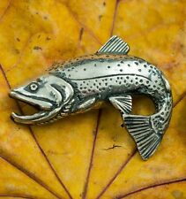 TROUT Silver Pendant Necklace Charm Jewel Fishing Fisherman Jewelry Jewellery Ag