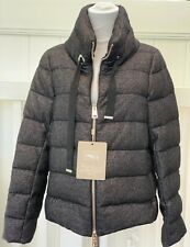 Herno Women's Wool Down Jacket Black Silver Spark Size It 42 NWT $800