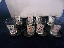 Vintage 16 Piece Poker Glasses And Ashtray Coaster With Original Box