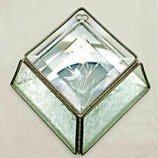 "Wall Pocket Etched Beveled Glass & Mirrored Wall Hanging Hummingbird VTG 5.25""Sq"