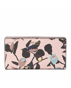KATE SPADE CAMERON LARGE SLIM BIFOLD WALLET PAPER ROSE PINK NEW