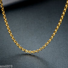 """Authentic Au750 18K Yellow Gold Necklace Perfect Cable Link Chain  2mmW  17.7""""L"""