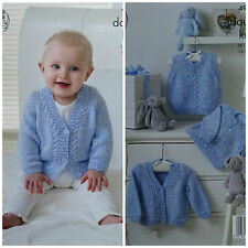Baby KNITTING PATTERN Baby Cable Cardigan, Jumper and Slipover DK King Cole 4905