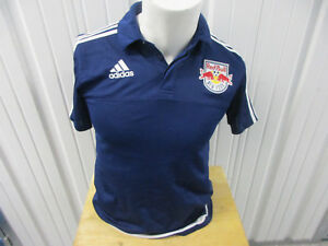ADIDAS MLS NEW YORK RED BULLS SMALL SEWN COLLAR POLO BLUE JERSEY PRE-OWNED