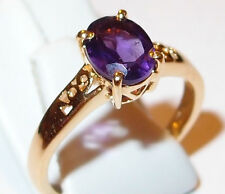 Amethyst solitaire (1.000ct) in gold overlay Sterling Silver, Size O.
