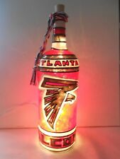 Atlanta Falcons Inspiered Bottle Lamp Lighted Handpainted Stained Glass Look