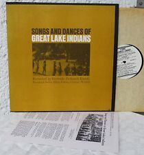 Songs And Dances Of The GREAT LAKE INDIANS  Folkways Lp w Booklet