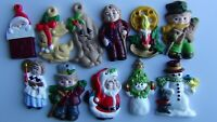 11 Vintage Hand-painted Christmas Ceramic Ornaments, FREE PRIORITY SHIPPING!