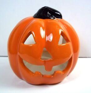 "Jack o' Lantern ceramic Halloween tea light or votive holder 3.25"" tall"