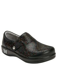 NEW ALEGRIA PAITYN SPRINKLES BLACK LEATHER SLIP ON SHOES CLOG WOMEN'S 40 10-10.5