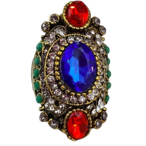 Bohemian Cocktail Ring blue red Size 11 Fashion Jewelry