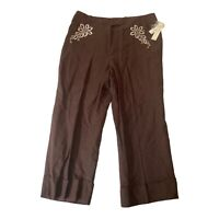 Larry Levine Womens cropped Capri linen Brown Floral cuffed Embroidered 10 New