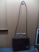 Etienne Aigner Shoulder Bag  Black & Dark Brown Zig-zag Leather? + Mirror VGC