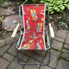 Vintage Clowns Child Size Aluminum Web Folding Lawn Chair Camping Red