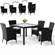 Set de Muebles de jardín 4 Sillas apilables 1 Mesa de Poliratán con cojines