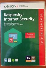 Kaspersky Internet Security for 3 PC's / Mac 6 month Expire 12/102017