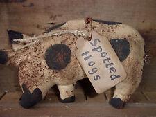 Primitive HOG Folk Art PIG (ONE)f Bowl Filler Ornie Rustic Country  Decor