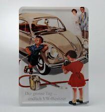 "Air Cooled VW Metal Postcard Sign Beetle ""Der Grosse Tag"" 3-7/8"" x 5-1/2"" 366204"