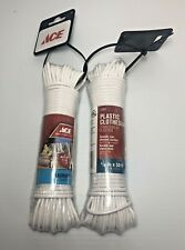 2 ~ Ace 5/32 x 50 Plastic Clothesline 16 Lb Max Weight Durable Wipes Clean