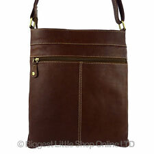 NEW Ladies Mens Classic Brown LEATHER Cross Body MESSENGER BAG North South Brown