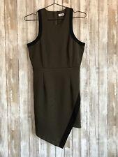 TOBI Olive Green Black Trim Asymmetrical Bodycon Dress M Medium Zipper RARE!