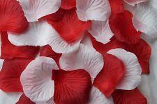 x 100 BLANCO Y ROJO Pétalos de Rosa De Seda Decoración De Mesa Confeti de boda