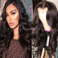 Top Quality Long Wavy Full Front Lace Wig 100% Real Remy Human Hair Wigs Brown V