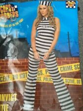 Womens Sexy SMIFFYS ROBBER CONVICT PRISONER 3 PIECE OUTFIT Fancy Dress Costume