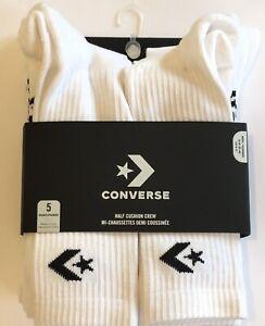 CONVERSE Mens Half Cushion Crew Sports Socks UK 6-11 5 Pairs BNWT