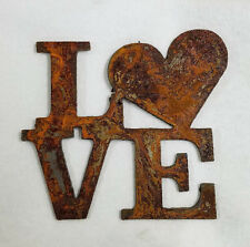 """6"""" LOVE Square with Heart for O Rusty Metal Wall Art Craft Stencil Vintage Sign"""