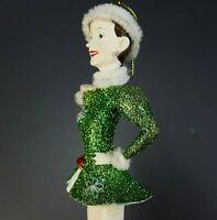 Vintage Kurt Adler Rockettes Irish Green Dancing Girl Christmas Ornament