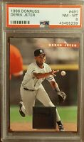 1996 Donruss #491 HOF Yankees DEREK JETER Rookie Baseball Card PSA 8 NM MINT